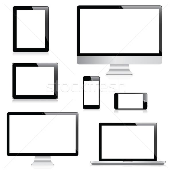 Modern bilgisayar dizüstü bilgisayar tablet vektörler Stok fotoğraf © MPFphotography