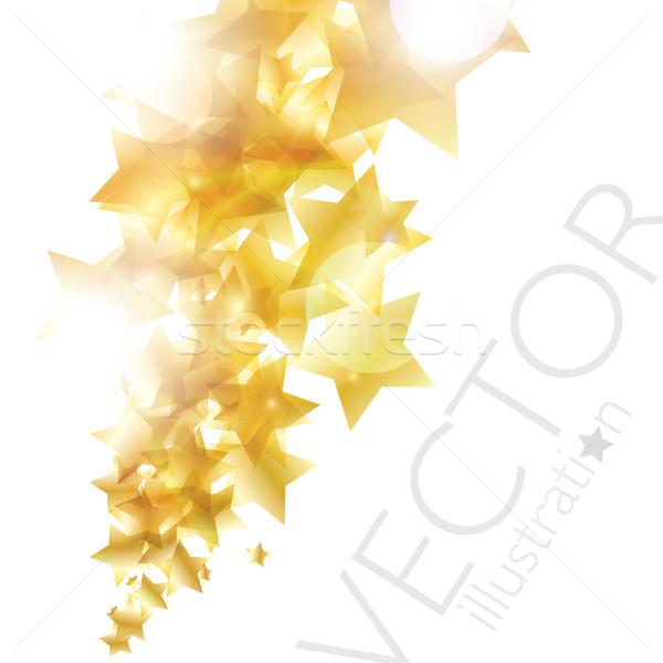 Błyszczący złoty gwiazdki wektora eps10 niebo Zdjęcia stock © MPFphotography
