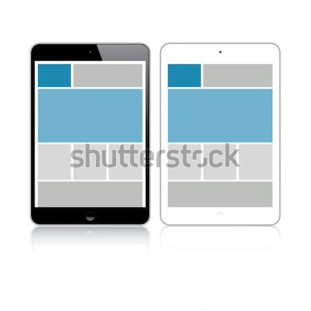 Web coding responsive html and css web design in tablet Stock photo © MPFphotography