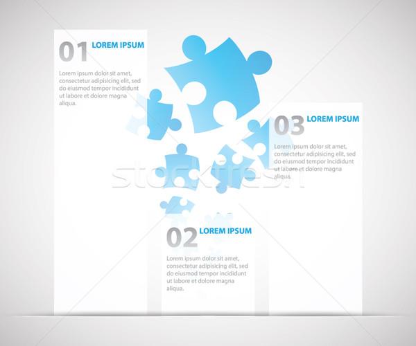 Drie opties puzzelstukjes vector eps10 Stockfoto © MPFphotography