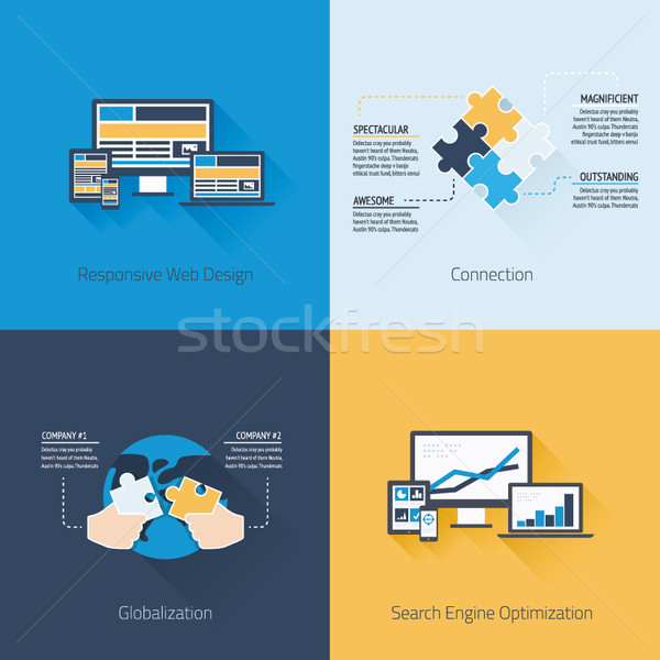 Stock photo: Four flat web design and business vector concepts