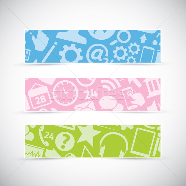 Three icon texture web banners/headers vector Stock photo © MPFphotography