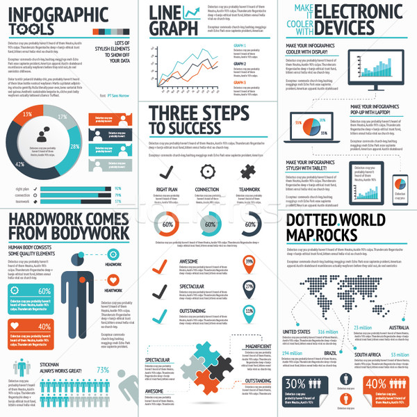 Big colorful set of infographic business elements in vector Stock photo © MPFphotography