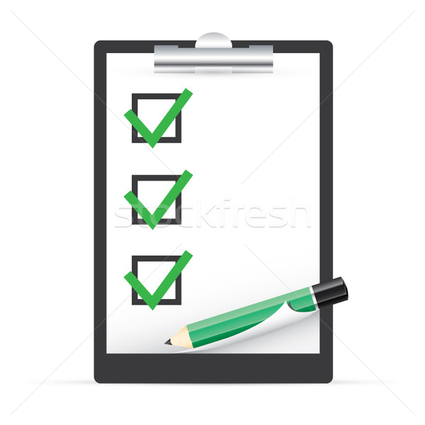 Clipboard with checkboxes and pen vector EPS10 Stock photo © MPFphotography