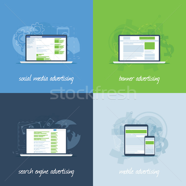 Internet marketing and advertising concepts in flat vectors Stock photo © MPFphotography