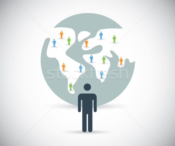 Building social media network and finding new contacts vector Stock photo © MPFphotography