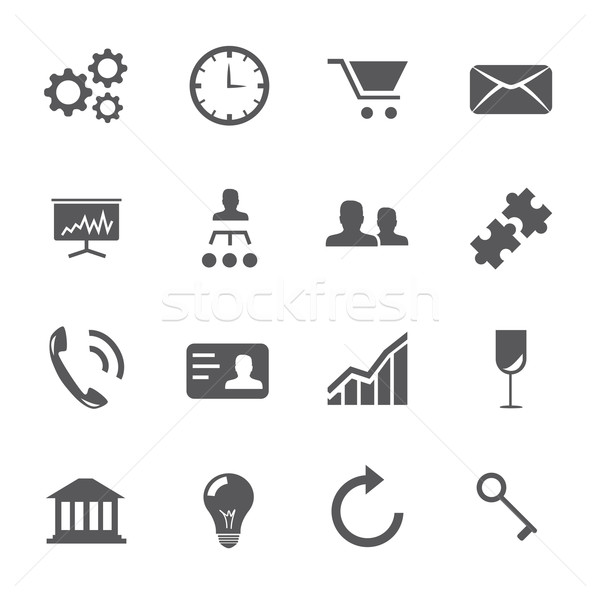 16 Business and strategy icons vector set Stock photo © MPFphotography