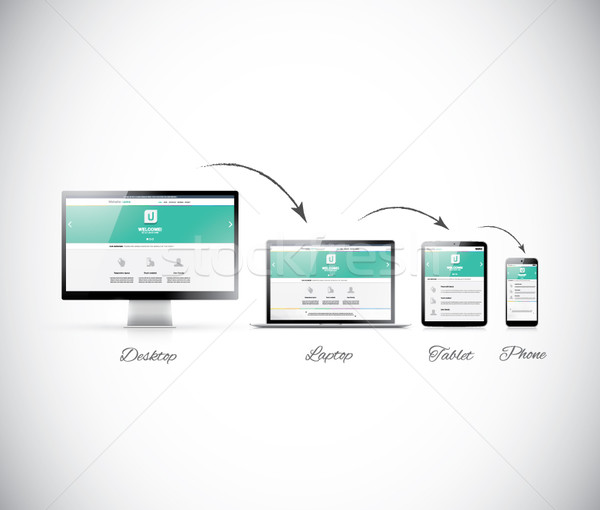Responsive web design development in modern electronic devices Stock photo © MPFphotography