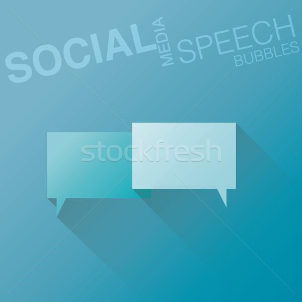 Minimal flat social media speech bubbles with shadow vector Stock photo © MPFphotography