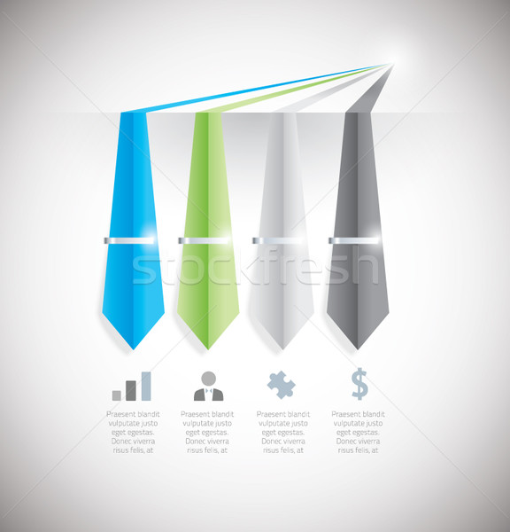 Infographic option element with tie and clip. Vector eps10. Stock photo © MPFphotography