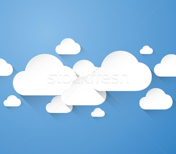 Abstract witte wolken lang schaduwen Blauw Stockfoto © MPFphotography