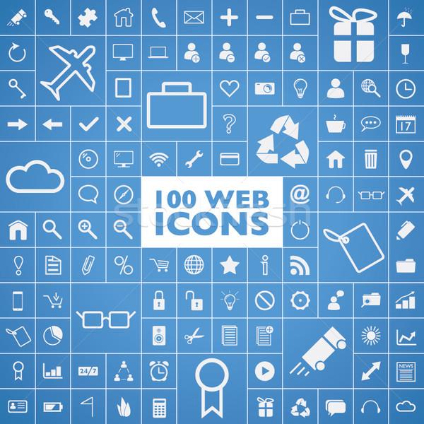 Conjunto 100 teia internet escritório computador Foto stock © MPFphotography