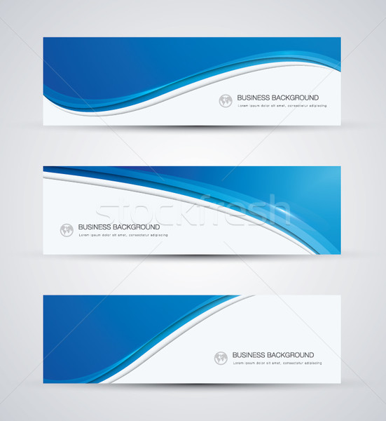 Abstract vector business background banner beautiful blue wave Stock photo © MPFphotography
