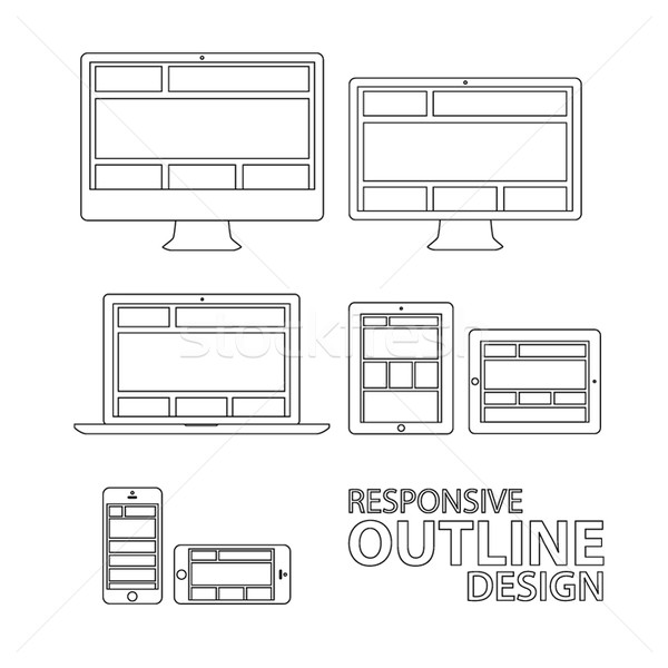 Computer tablet laptop phone outline responsive vector eps10 Stock photo © MPFphotography