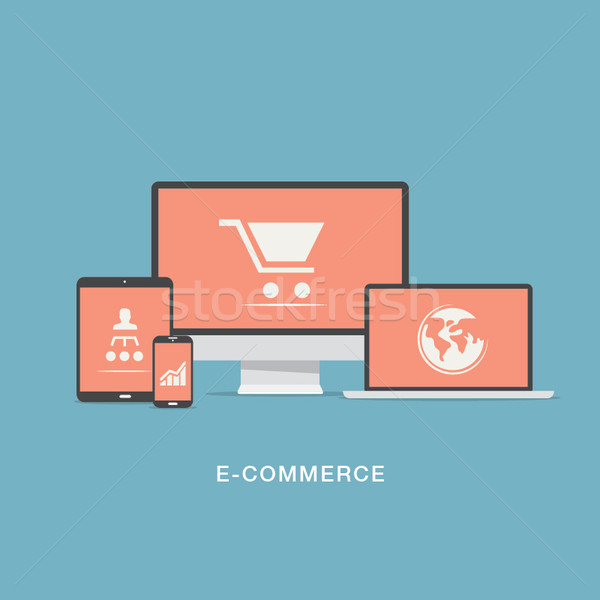 Flat e-commerce vector icons set concept Stock photo © MPFphotography