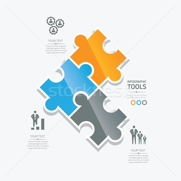 Puzzle darab infografika opció szövegdoboz vektor Stock fotó © MPFphotography