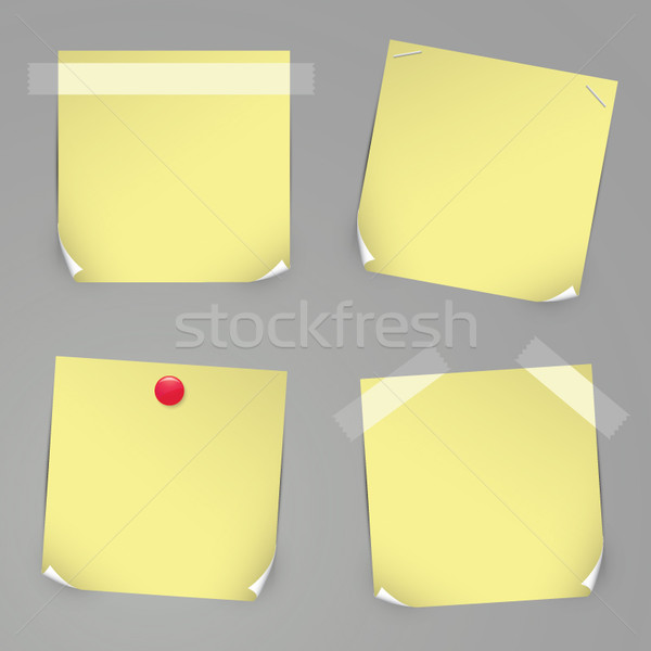 Realistic yellow vector stickers with pins and curved corners. Stock photo © MPFphotography
