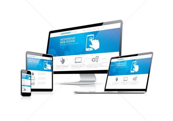 Website coding development with responsive web design concept Stock photo © MPFphotography