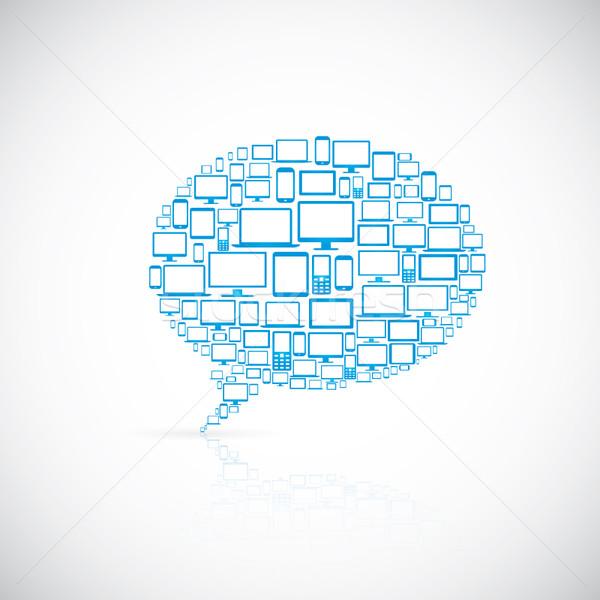 Balão de fala moderno ícone do computador ícones do computador telefone internet Foto stock © MPFphotography