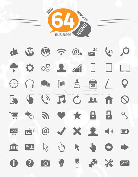 Web, business, computer design vector icon set. 64 icons. Stock photo © MPFphotography