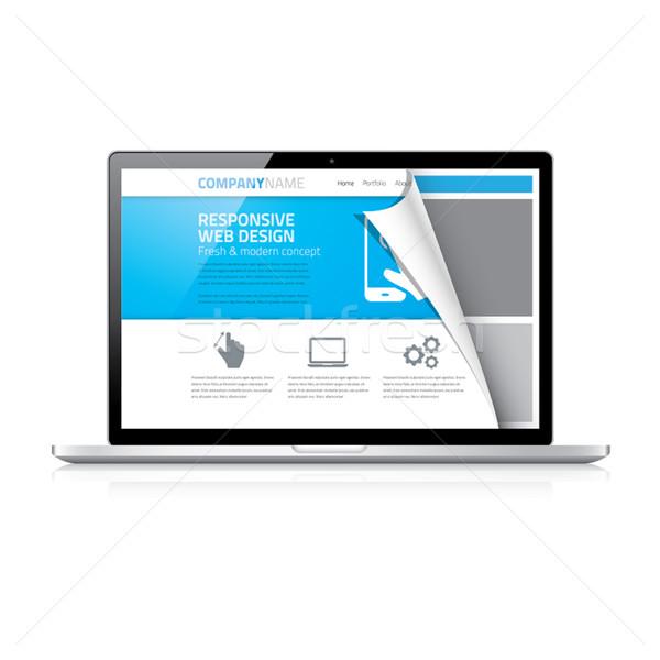 Moderne sympathiek web design codering laptop vector Stockfoto © MPFphotography