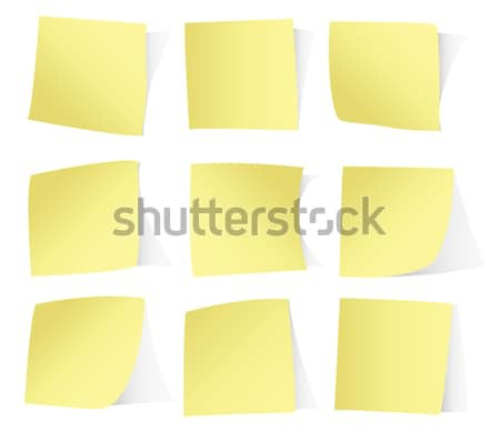 Stock photo: Yellow vector paper stickers isolated on white
