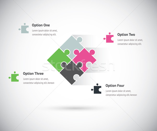 Bilmece parça grup infographics iş vektör Stok fotoğraf © MPFphotography