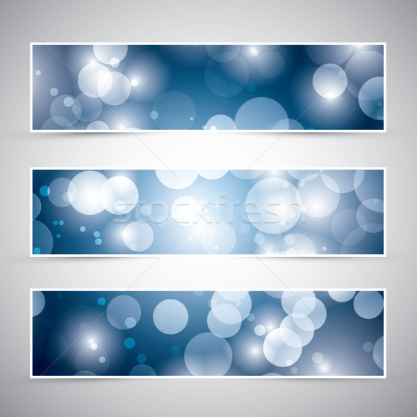 Tres azul color luces banners vector Foto stock © MPFphotography