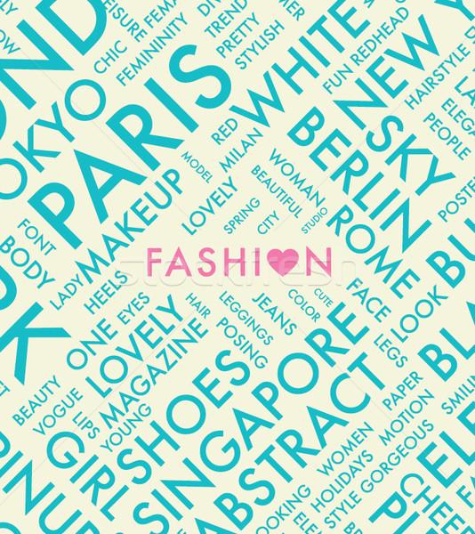 Mode tekst hart woordwolk vector website Stockfoto © MPFphotography