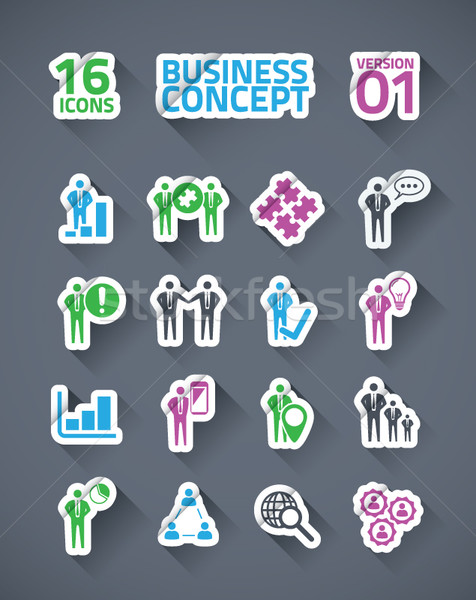 Sticker vector business icon set with long shadows Stock photo © MPFphotography