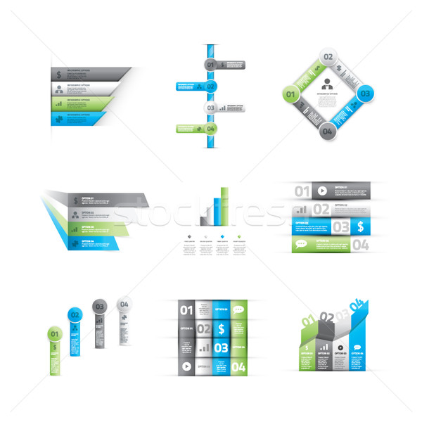 Big set of green and blue infographic option elements vector Stock photo © MPFphotography