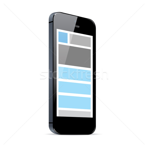 Responsive web design in black smart phone vector eps Stock photo © MPFphotography