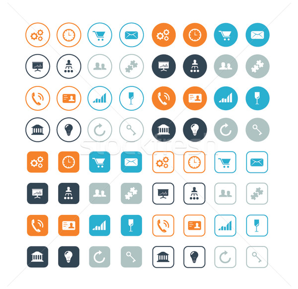 Round and circle business and strategy vector icons eps10 Stock photo © MPFphotography
