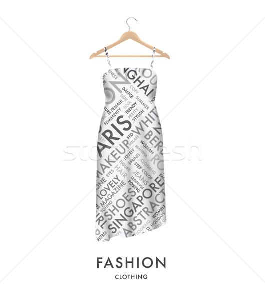 Vrouw mode jurk modieus tekst typografie Stockfoto © MPFphotography