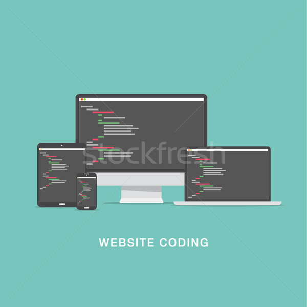 Flat website coding development vector illustration Stock photo © MPFphotography