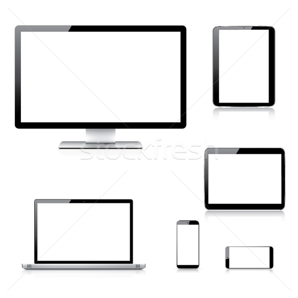 Gerçekçi bilgisayar dizüstü bilgisayar tablet vektörler Stok fotoğraf © MPFphotography