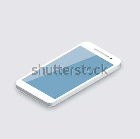 Téléphone portable isolé réaliste blanche 3D smartphone Photo stock © MPFphotography