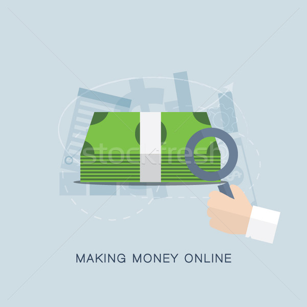 Making money online flat vector concept Stock photo © MPFphotography