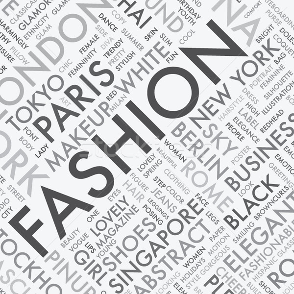 Fashion word tag cloud typography texture background vector Stock photo © MPFphotography