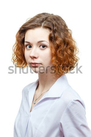 cute redhead doctor in lab coat Stock photo © mrakor