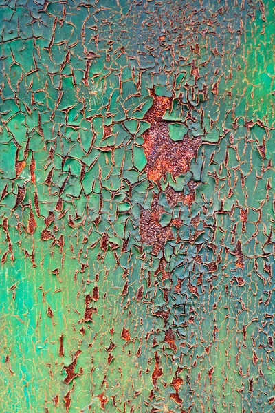 Stock photo: old decayed paint on rust metal