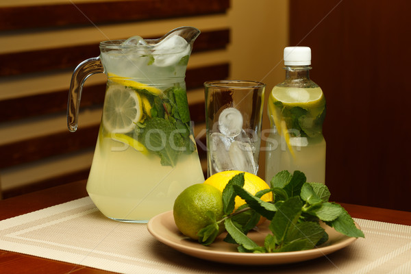 Stock photo: Glass of sweet lemonade with jar and ingredients