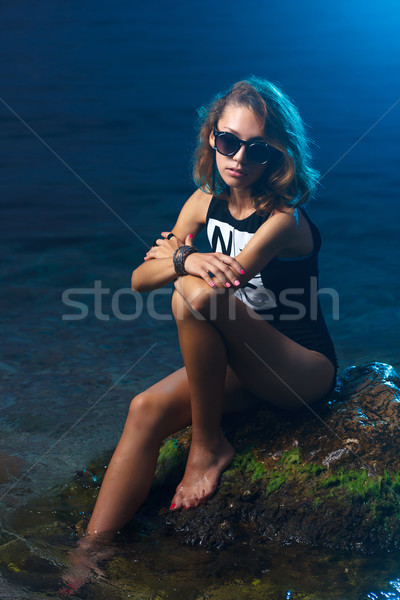 Young teen girl fashion shoot at sunset beach Stock photo © mrakor