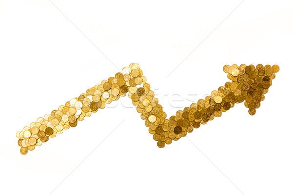 Pijl tonen winst gouden munten geïsoleerd Stockfoto © mrakor