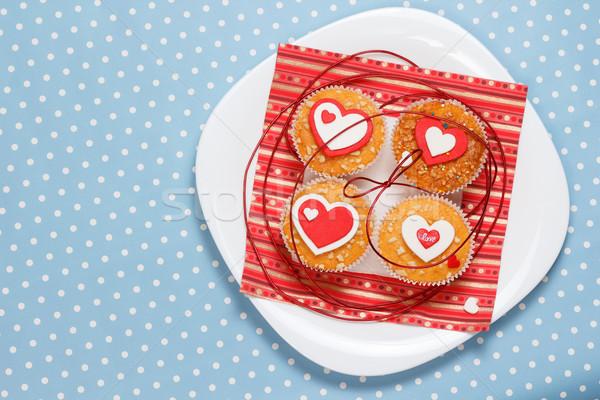 Dia dos namorados branco prato vermelho corações Foto stock © mrakor