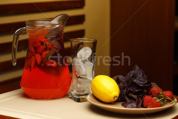 Glas süß Limonade jar Zutaten Tabelle Stock foto © mrakor