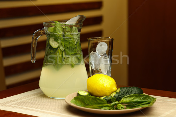Verre sweet limonade jar ingrédients table Photo stock © mrakor
