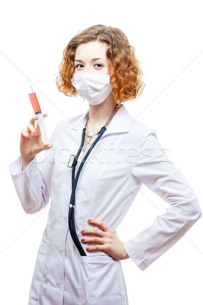 Cute medico camice da laboratorio siringa maschera Foto d'archivio © mrakor