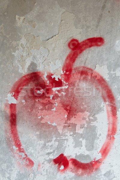 Weathered damaged wall with painted apple Stock photo © mrakor