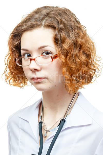 Cute врач лабораторный халат очки изолированный Сток-фото © mrakor
